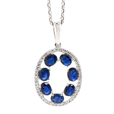 Sapphire and diamond oval cluster pendant and chain in 9ct white gold