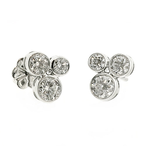 Diamond 'bubble' stud earrings in 18ct white gold, 0.70ct