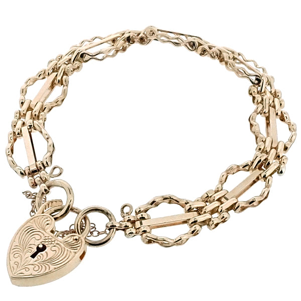 Fancy link gate bracelet in 9ct gold