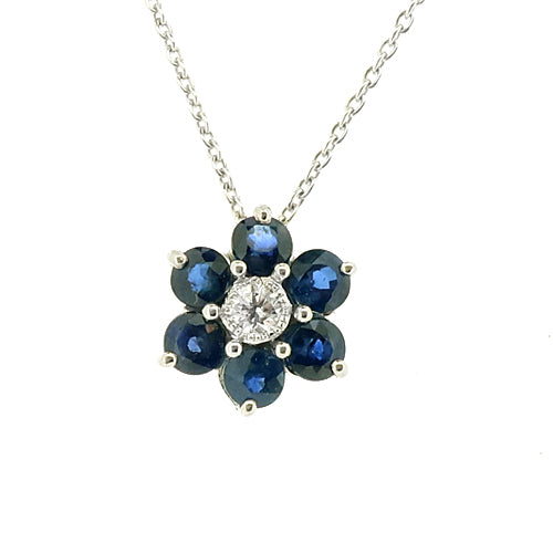 Sapphire and diamond floral cluster pendant and chain in 9ct white gold