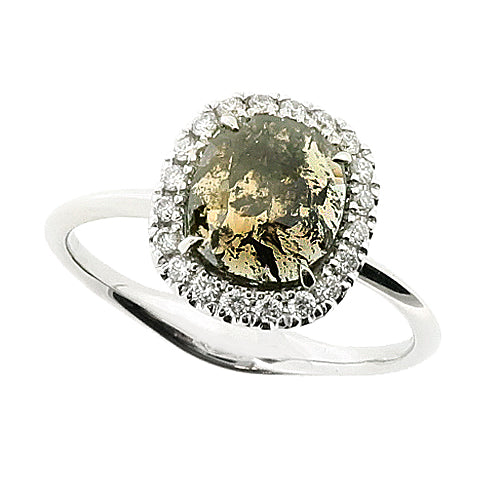 Cushion shape rose-cut diamond halo cluster ring in 18ct white gold, 1.05ct