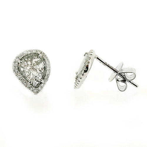 b27327fe4 Pear shape rose-cut grey diamond halo stud earrings in 18ct white gold, 0.68