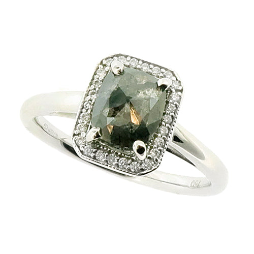 Grey rose-cut diamond halo cluster ring in 18ct white gold, 1.22ct
