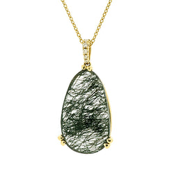 Rose-cut rutilated quartz and diamond pendant and chain in 18ct gold