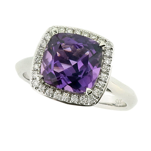 Amethyst and diamond halo cluster ring in 9ct white gold