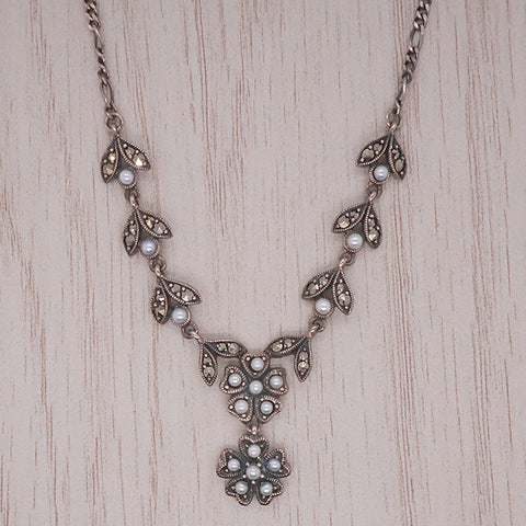 Freshwater pearl and marcasite floral necklace in silver