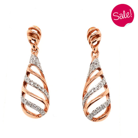 Diamond set twist detail drop earrings in 9ct rose gold