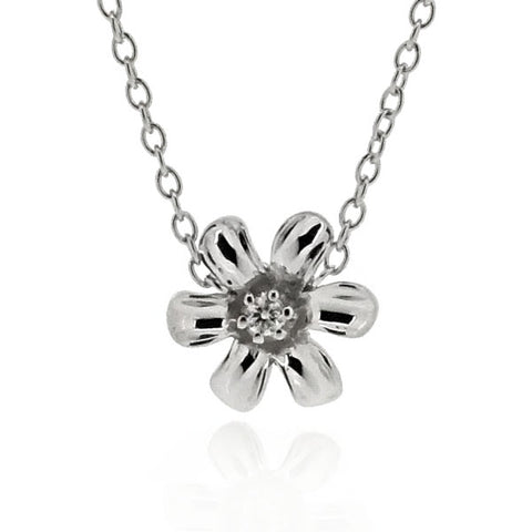 Diamond set flower necklace in 9ct white gold