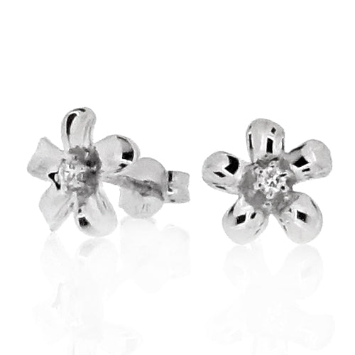 Diamond set flower earrings in 9ct white gold