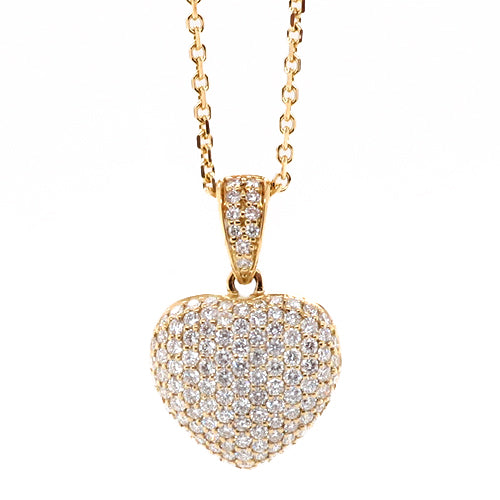 Diamond set heart pendant and chain in 18ct gold, 0.91ct