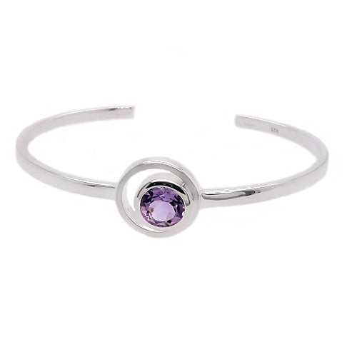 Amethyst cuff bangle in silver