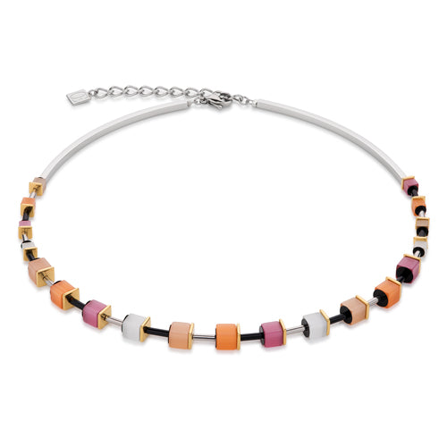 MULTICOLOUR CUBE NECKLACE, ORANGE/PINK – 4909/10-0219