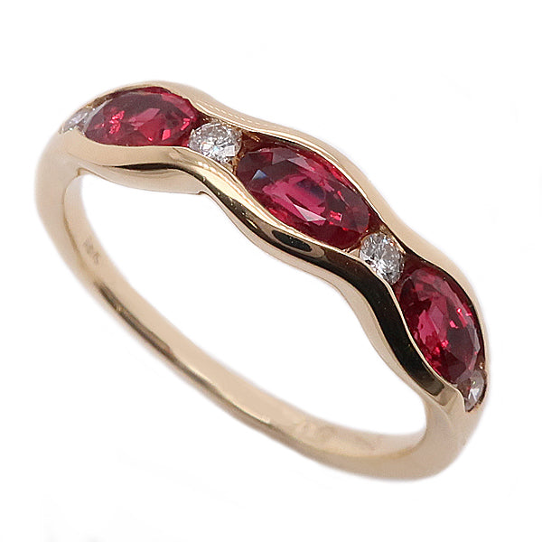 Ruby and diamond seven stone ring in 18ct gold