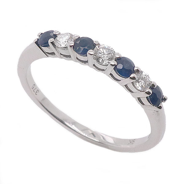 Sapphire and diamond half eternity ring in 9ct white gold