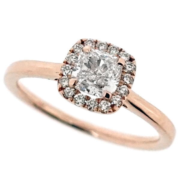 Cushion shape diamond halo cluster ring in 18ct rose gold, 0.74ct