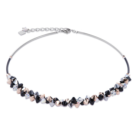 BLACK/ ROSE CLUSTER NECKLACE – 4938/10-1523