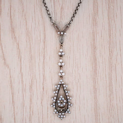 Freshwater pearl and marcasite necklet in silver