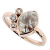 Marquise rose and brilliant cut diamond cluster ring in 9ct rose gold