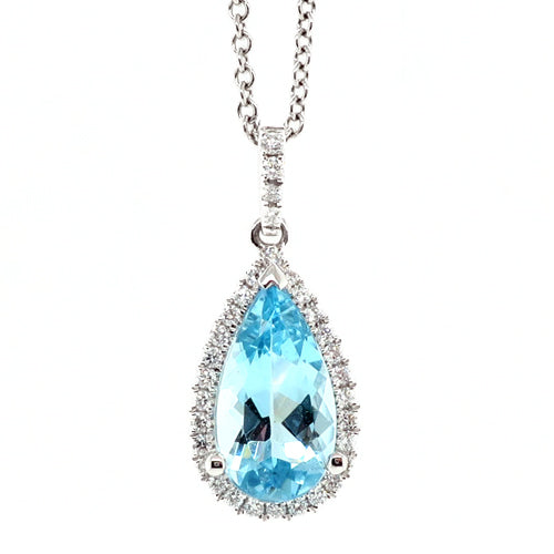Aquamarine and diamond halo cluster pendant and chain in 18ct white gold