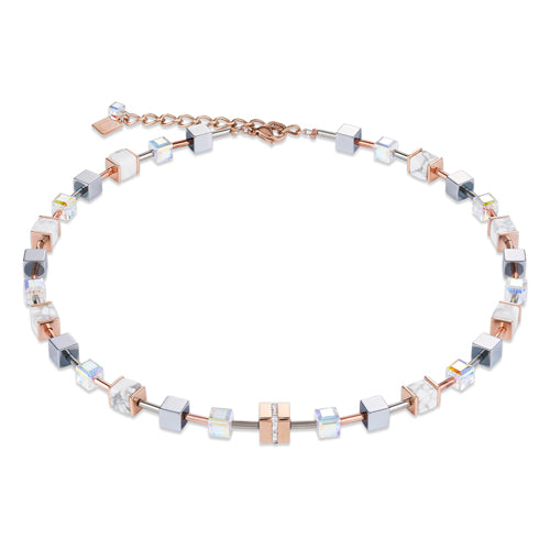 COEUR DE LION GEO CUBE NECKLACE- ROSE GOLD/WHITE - 4965/10-1632