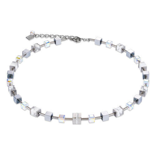 COEUR DE LION GEO CUBE NECKLACE- SILVER/WHITE - 4965/10-1714