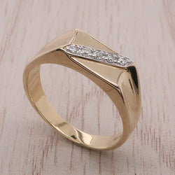 Diamond set rectangular signet ring in 9ct gold