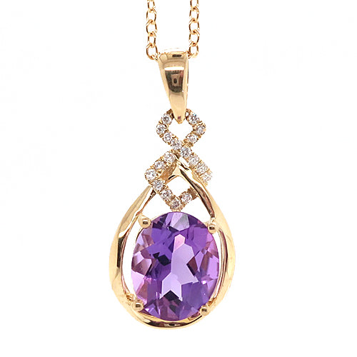 Amethyst and diamond pendant and chain in 9ct gold