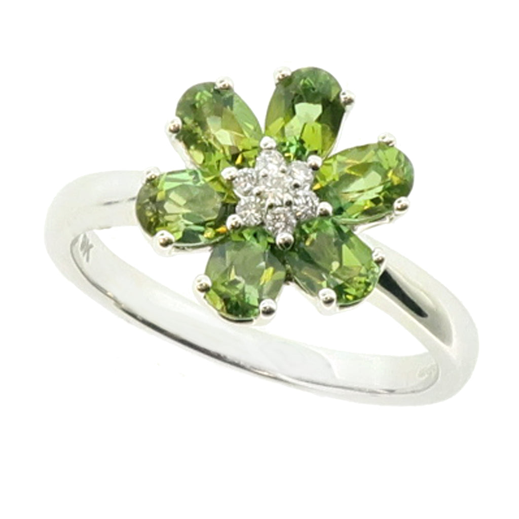 Green tourmaline and diamond floral cluster ring in 9ct white gold