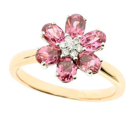 Pink tourmaline and diamond floral cluster ring in 9ct rose gold