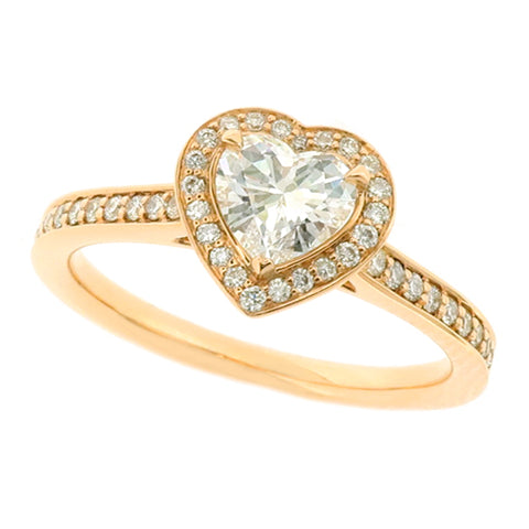 Heart shape diamond halo cluster ring in 18ct rose gold, 0.74ct