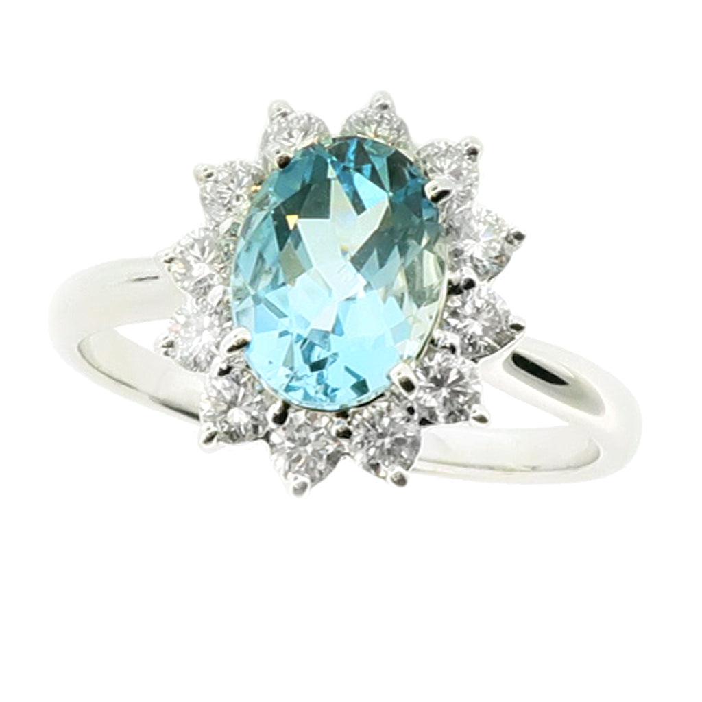 Aquamarine and diamond cluster ring in 18ct white gold