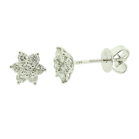 Diamond floral cluster stud earrings in 18ct white gold