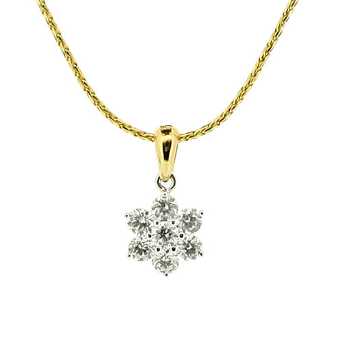 Diamond floral cluster pendant and chain in 18ct gold, 0.54ct