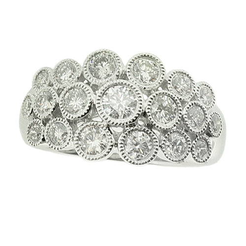 Diamond 'bubble' ring in 18ct white gold, 0.89ct