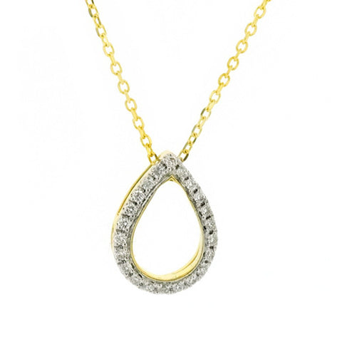 Diamond open teardrop shape pendant and chain in 18ct gold