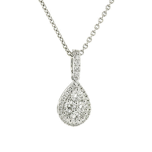 Diamond teardrop cluster pendant and chain in 18ct white gold, 0.38ct