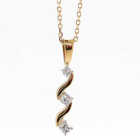 Diamond three stone twist pendant and chain in 9ct yellow gold, 0.15ct