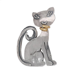Cat brooch in silver with gold plating