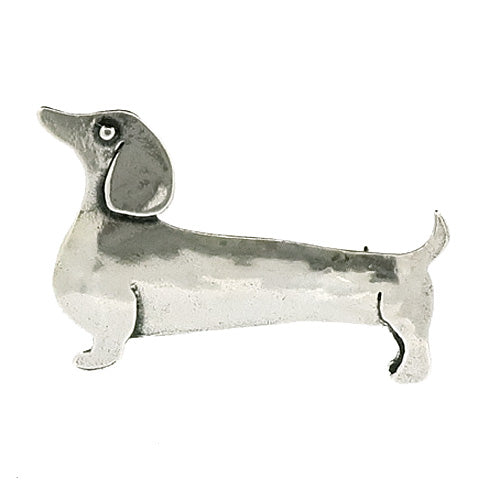 Sausage dog brooch in silver