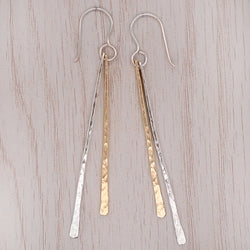 Long stick drop earrings in silver with gold plating