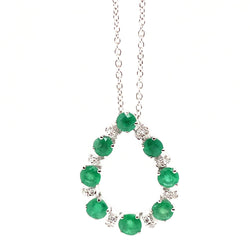 Emerald and diamond teardrop pendant and chain in 18ct white gold