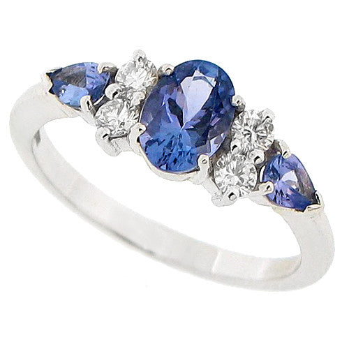 Tanzanite and diamond ring in 18ct white gold
