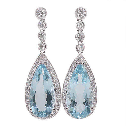 Aquamarine and diamond drop earrings in 18ct white gold