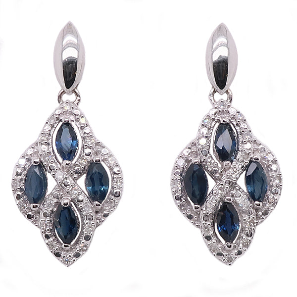 Sapphire and diamond drop earrings in 9ct white gold