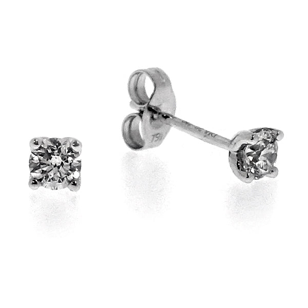 Brilliant cut diamond stud earrings in 18ct white gold, 0.40ct