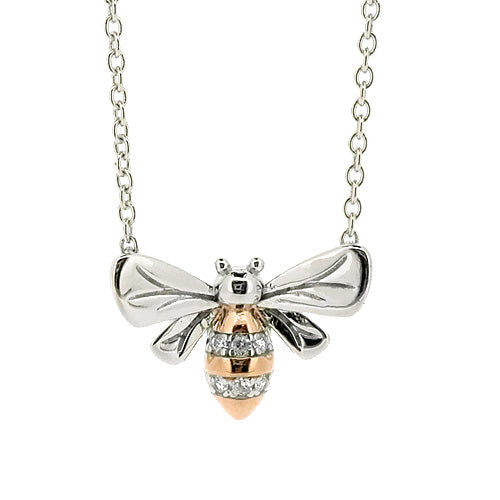 Cubic zirconia bee necklace in silver with rose gold-plating
