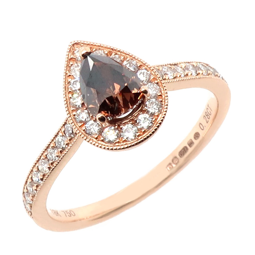 Chocolate and white diamond halo cluster ring in 18ct rose gold, 0.86ct