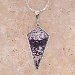Blue John kite-shaped pendant and chain in silver