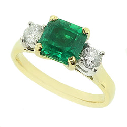 Emerald and diamond three stone ring in 18ct gold