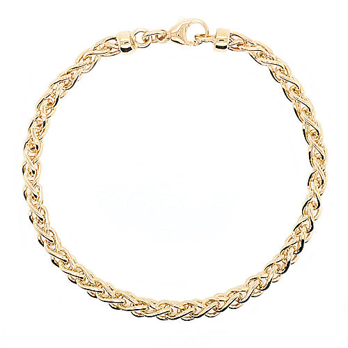 Braided curb link bracelet in 9ct gold